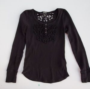 Lucky Brand// Long Sleeve Thermal Top Crochet